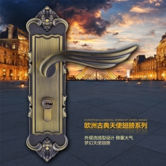 三环欧式天使翅膀青古门锁三件套装卧室室内执手房木门锁具 精美青古铜门锁一把,不包含合页门吸