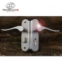 三环现代款门锁阳刚室内执手房门锁全304不锈钢锁具S183-1401SS 1把拉丝不锈钢锁具+3片开
