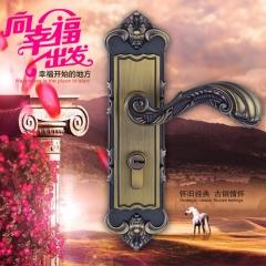 三环房门锁青古铜欧式室内实木门锁具门吸合页门把手三件套装 门锁一把,不包含合页门吸