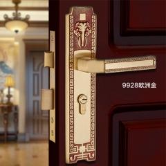 三环新中式纯铜门锁室内静音仿古实木门锁卧室房门把手SHCT-9928 SHCT-9928EG欧洲金