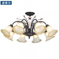 浦莱尔照明欧式田园灯罩向下吊灯 客厅灯美式吸吊两用铁艺卧室餐桌灯餐吊灯