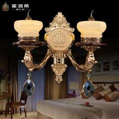 嘉美照明-美洛蒂新款欧式壁灯奢华玉石锌合金装饰灯电视背景墙卧室床头壁灯