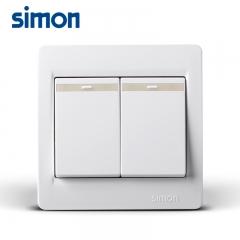 欧莱亚灯饰西蒙开关插座西蒙开关面板正品53系列86型雅白色二开单控面板