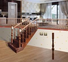 孔府木业实木楼梯KF-02 图片色 樱桃木 一步(4.5x4.5小柱)