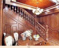 孔府木业实木楼梯KF-08 图片色 樱桃木 一步(5.5x5.5小柱)