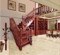 孔府木业实木楼梯KF-01 图片色 樱桃木 一步(5.5x5.5小柱)