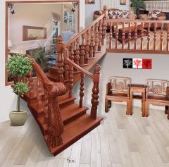 孔府木业实木楼梯KF-03 图片色 樱桃木 一步