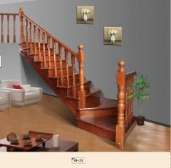 孔府木业实木楼梯KF-23 图片色 樱桃木 一步(4.5x4.5小柱)