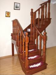 孔府木业实木楼梯KF-11 图片色 樱桃木 一步(4.5x4.5小柱)