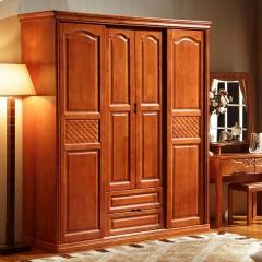 雅居乐推拉门衣柜实木衣柜卧室家具组合简易三门大衣柜四门衣橱 两门推拉衣柜(颜色拍下备注) 原木色 实