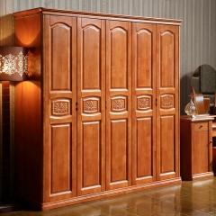 雅居乐实木衣柜卧室家具木质大衣橱三四五六门衣柜组合 海棠色 实木 五门 定金