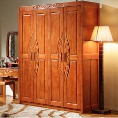 雅居乐现代中式实木衣柜四门衣柜卧室衣橱 原木色 实木 四门 定金
