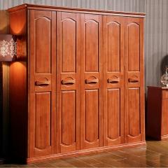 雅居乐实木衣柜木质三门四门五门六门衣柜大衣橱整体衣柜 海棠色 实木 五门 定金