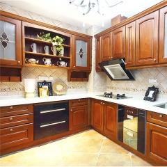 雅居乐定制整体橱柜 成都厨房装修全屋定制 红橡实木橱柜 开放式欧式风格定做 红橡木 定金