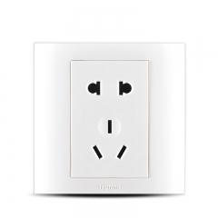 罗格朗开关插座tcl墙壁面板仕界雅白5五孔电源86型二三插 插座 白色