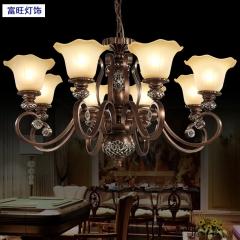 富旺灯饰欧式田园吊灯 美式乡村卧室客厅灯简欧复古铁艺三头餐厅大厅灯具