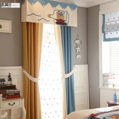 尚美墙纸幼儿园窗帘地中海棉麻纯色儿童房遮光窗帘卡通漂流瓶飘窗帘头定制 每米