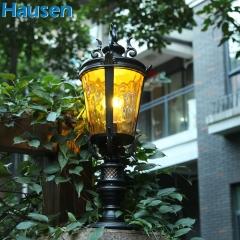 欧司朗照明皓森照明高品质欧式户外柱头灯 防水户外墙头灯庭院门柱灯景观灯围墙灯铝
