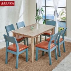 金柏居家私北欧实木餐桌餐椅组合长方形饭桌橡木简约现代餐厅咖啡厅桌游餐台 图片色 实木 餐椅/把 全款