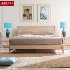 金柏居家私现代简约北欧风格家具 实木床 坂木床1.8米双人床储物床