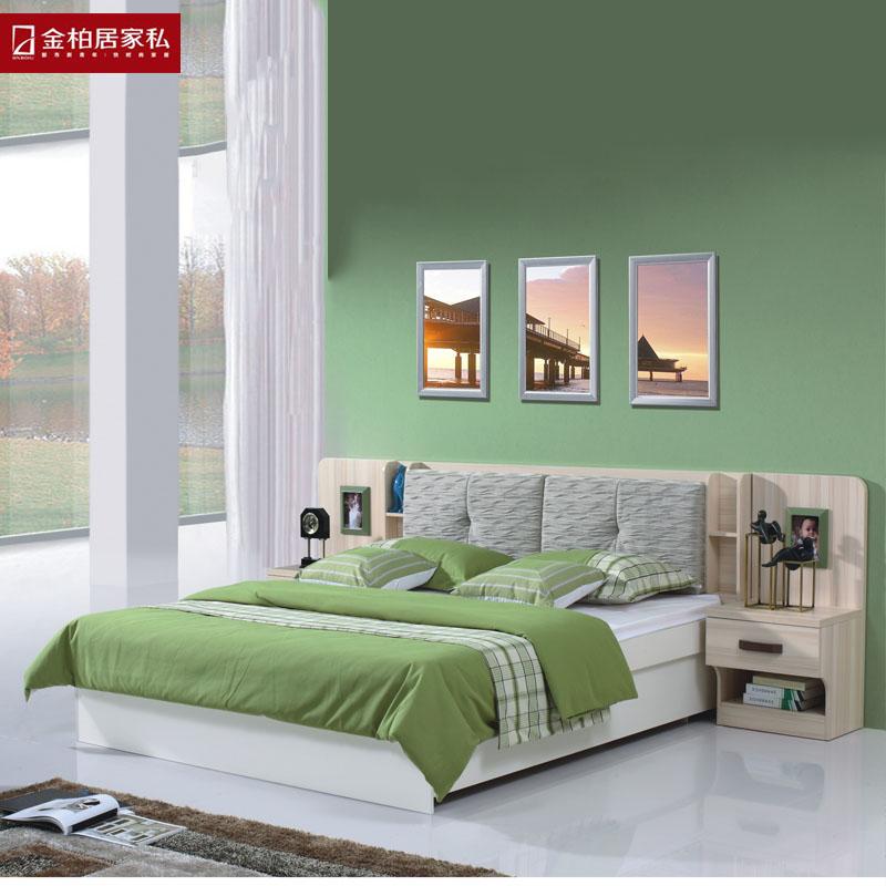 金柏居家私现代简约北欧风格家具 实木床 坂木床1.图片