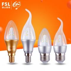 佛山照明 LED灯泡E14螺口蜡烛灯尖泡拉尾泡3W家用水晶灯光源 超炫银E14(尖泡)