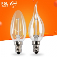 佛山照明 LED钨丝灯泡E14螺口玻璃家用装饰水晶吊灯尖泡拉尾泡 E14尖泡(4W)