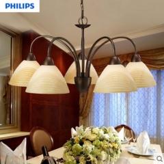 飞利浦吊灯客厅餐厅卧室欧式简约田园铁艺创意灯具五头八头花灯 定金