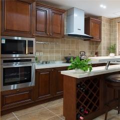 随意橱柜 俄罗斯水曲柳实木橱柜全屋定制定做L型石英石台面美式厨房厨柜 定金