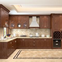 随意橱柜 定制整体橱柜 成都厨房装修全屋定制 红橡实木橱柜 开放式欧式风格定做 3米套餐 定金