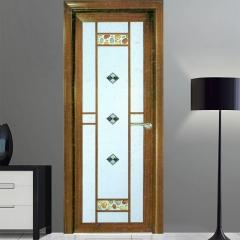 欧尚名门 圆弧平开门系列 黑胡桃D-132 格条+晶彩玻璃 可定制 图片色 铝合金(具体咨询客户)