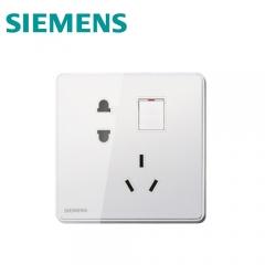 西门子开关插座面板 睿致系列象牙白 10A五孔插座带小开关5UB8184-3NC02 澳星照明