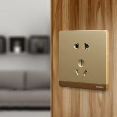 维纳斯 飞利浦开关插座面板香槟金色五孔二三插座86型10A电源墙壁插座