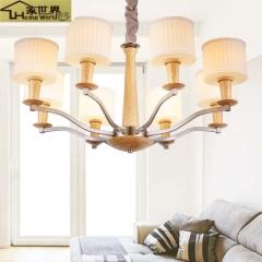 家世界 大气中式灯现代简约客厅餐厅卧室玻璃吊灯北欧铁艺灯美式乡村吊灯