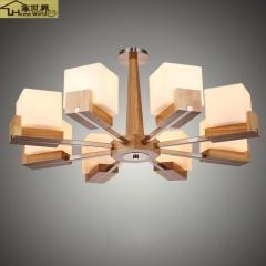家世界 简约北欧卧室吊灯美式复古实木led创意客厅橡木美式田园玻璃吊灯