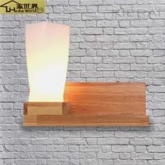 家世界 现代简约时尚创意客厅卧室 过道床头书房餐厅 实木LED暖白光壁灯