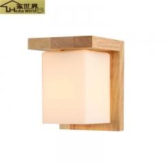 家世界 现代中式简约卧室床头北欧创意led壁灯实木艺过道玄关走廊灯