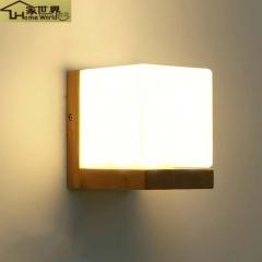 家世界 艺术北欧日式门灯实木壁灯木质原木现代简约室内过道灯