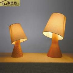 家世界 原木质装饰欧式创意小台灯卧室床头灯调光复古小夜灯