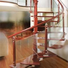 富华楼梯 橡胶木简约弧形梯玻璃挡板木楼梯 定金