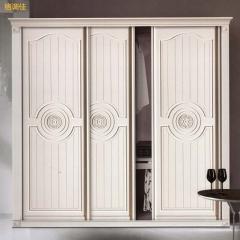 格调佳 定制衣柜三门推拉门雕花图案简欧卧室衣柜天使白 DBE-2071 吸塑门 定金