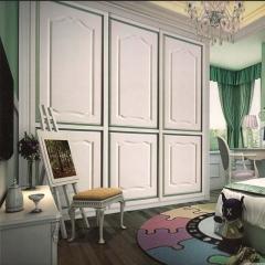 红叶家居 简约现代欧式平推拉吸塑卧室衣柜定制 HY-1122 定金